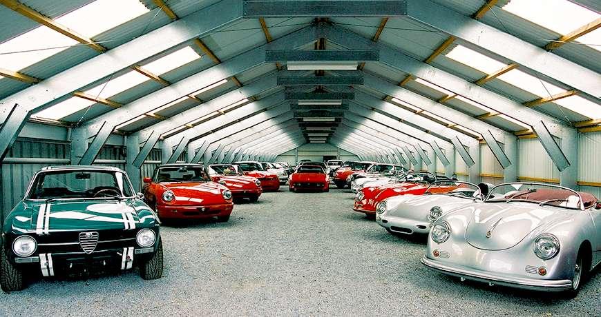 Sports storage old cars interior steel garage dry safe