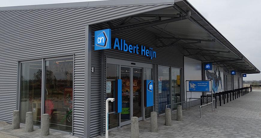 Tijdelijke-bedrijfshal-supermarkt-Frisomat-Albert-Heijn-staalconstructie-staalbouw